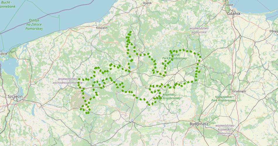 Mapa trasy Greenway – Naszyjnik Północy Szlak rowerowy