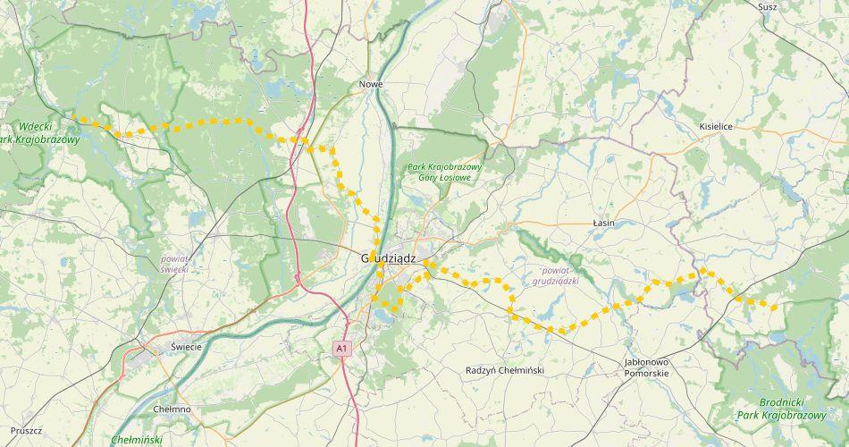 Mapa trasy Łąkorz – Grudziądz – Tleń (szlak rowerowy, żółty)