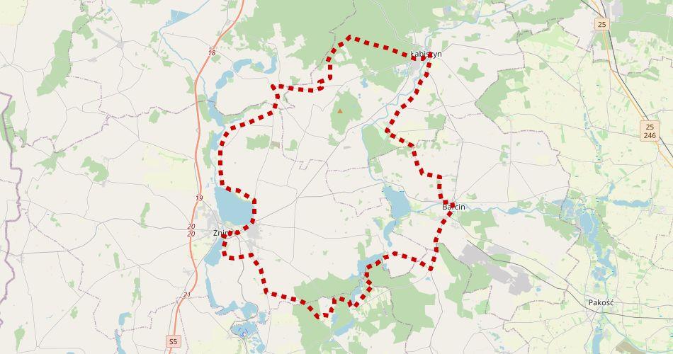 Mapa trasy Pałuckie Krajobrazy (Szlak rowerowy czerwony)
