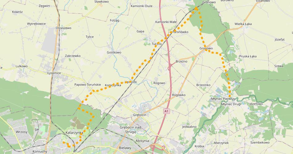 Mapa trasy Toruń – Młyniec (szlak rowerowy żółty)