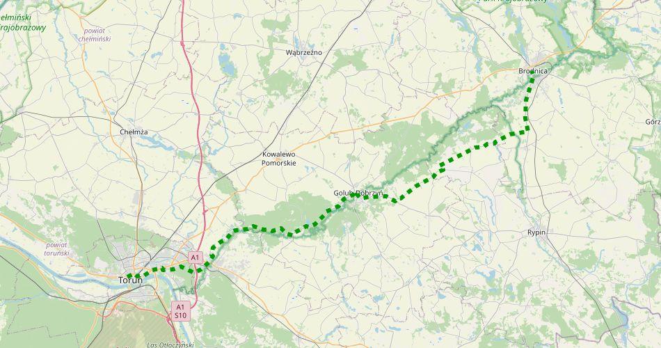 Mapa trasy Toruń – Radomno (szlak rowerowy, zielony)