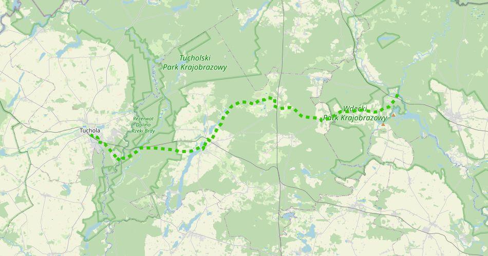 Mapa trasy Tuchola – Tleń (szlak rowerowy zielony)