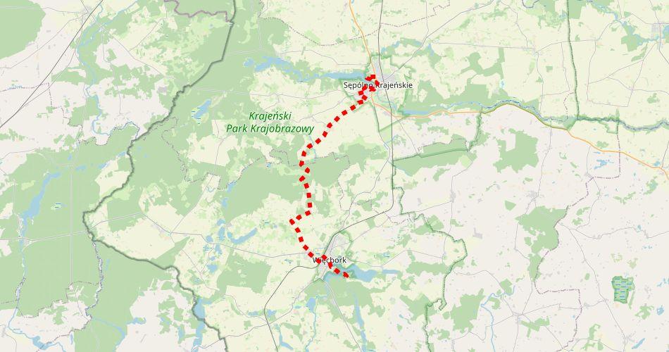 Mapa trasy Sępólno Krajeńskie – Więcbork (szlak rowerowy, czerwony)