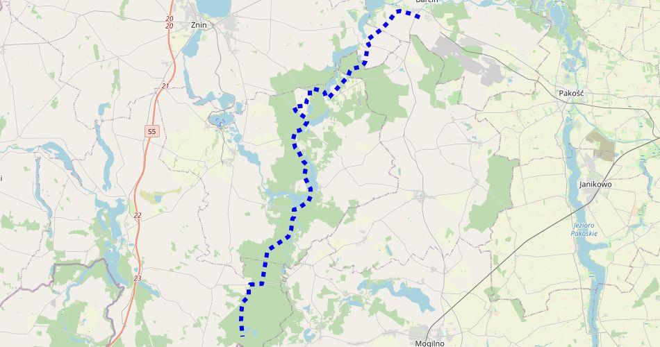 Mapa trasy Barcin – Gołąbki (Szlak rowerowy niebieski)