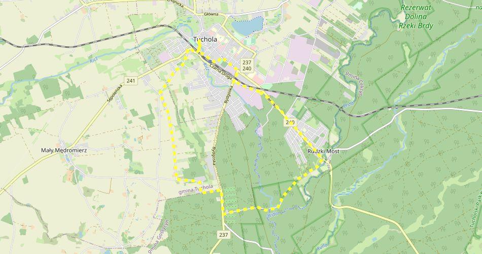 Mapa trasy Jagielloński Dwa Miecze (szlak rowerowy, żółty)