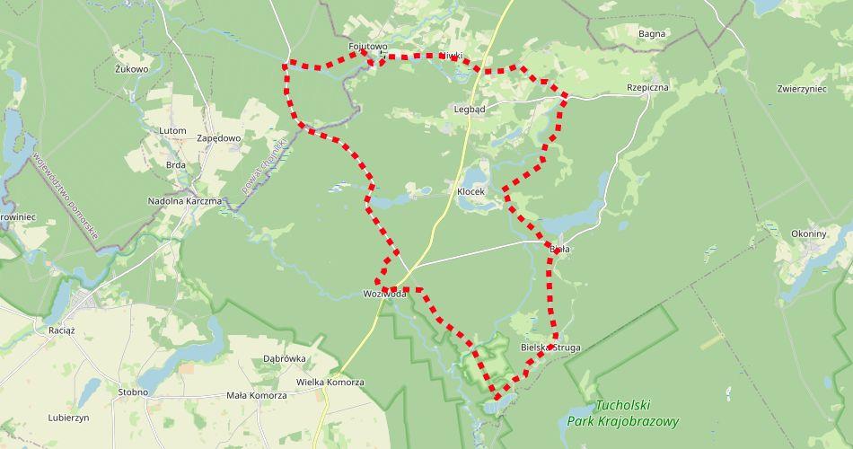 Mapa trasy Trzy Akwedukty (szlak rowerowy, zółty)