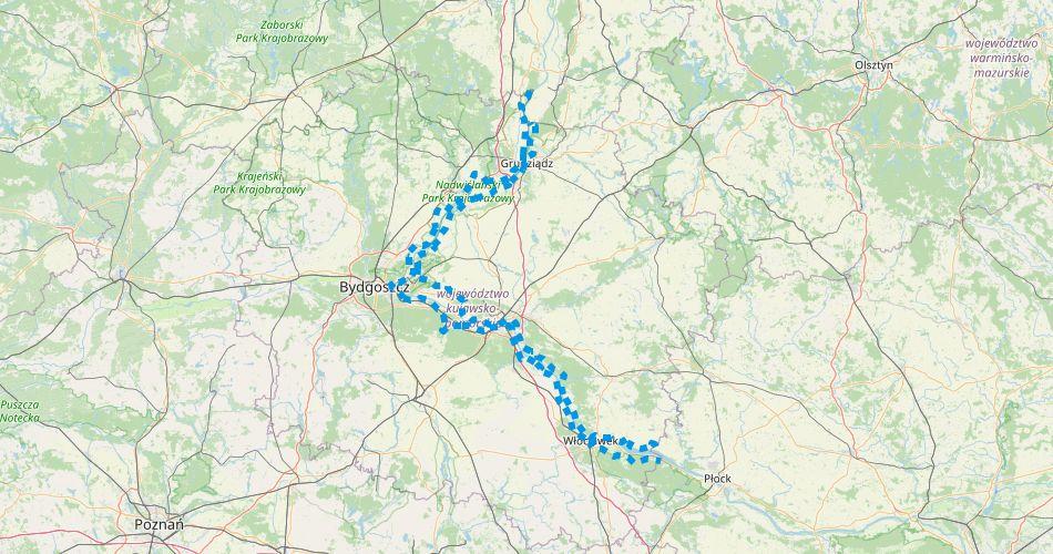 Mapa trasy Wiślana Trasa Rowerowa w Kujawsko-Pomorskim