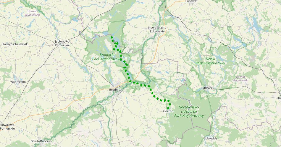 Mapa trasy Górzno – Łąkorz (szlak pieszy, zielony)