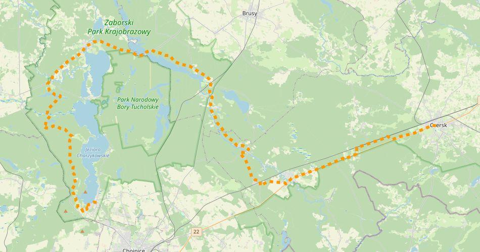 Mapa trasy Kaszubska Marszruta (szlak rowerowy, żółty)