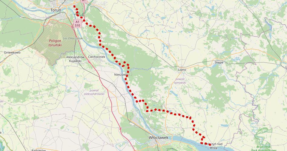 Mapa trasy Toruń – Dobrzyń nad Wisłą (szlak rowerowy, czarny)