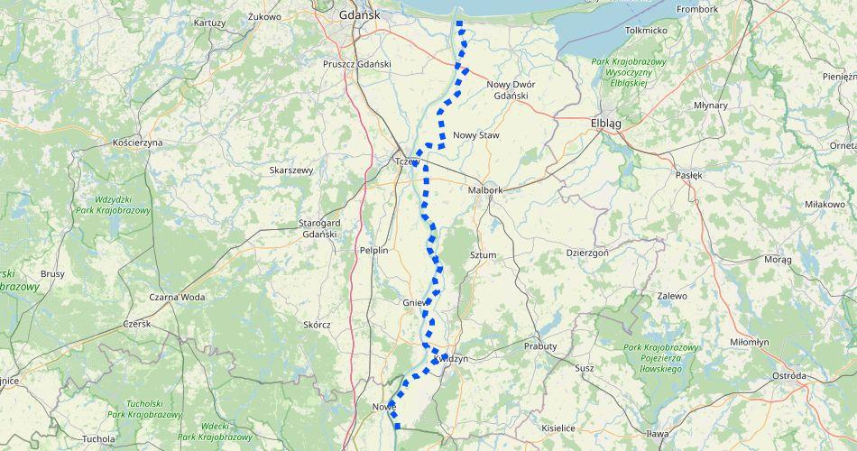 Mapa trasy Wiślana Trasa Rowerowa w Pomorskim – prawy brzeg