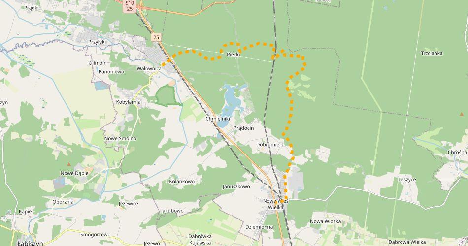 Mapa trasy Brzoza – Nowa Wieś Wielka (im. bł Czesława Jóźwiaka, szlak pieszy, żółty)