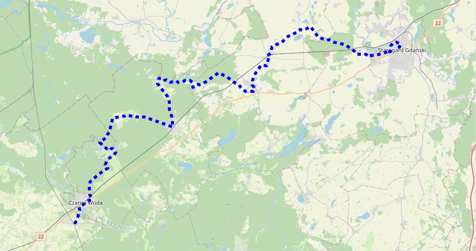 Mapa trasy Szlak Starogardzki (szlak rowerowy niebieski)