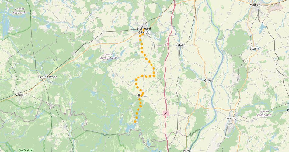 Mapa trasy Szlak św. Rocha (szlak rowerowy żółty)