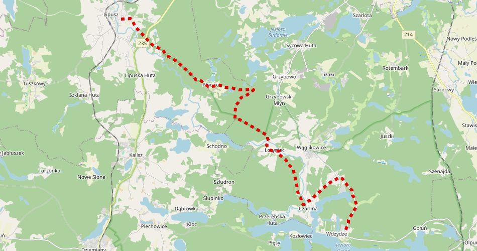 Mapa trasy Wdzydze – Lipusz (szlak rowerowy, czerwony)