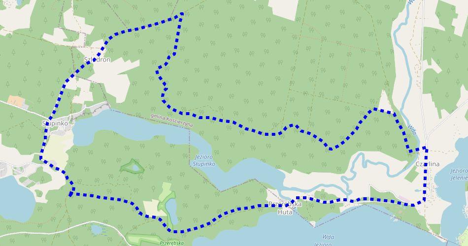 Mapa trasy Pętla Czarlina (szlak rowerowy niebieski)