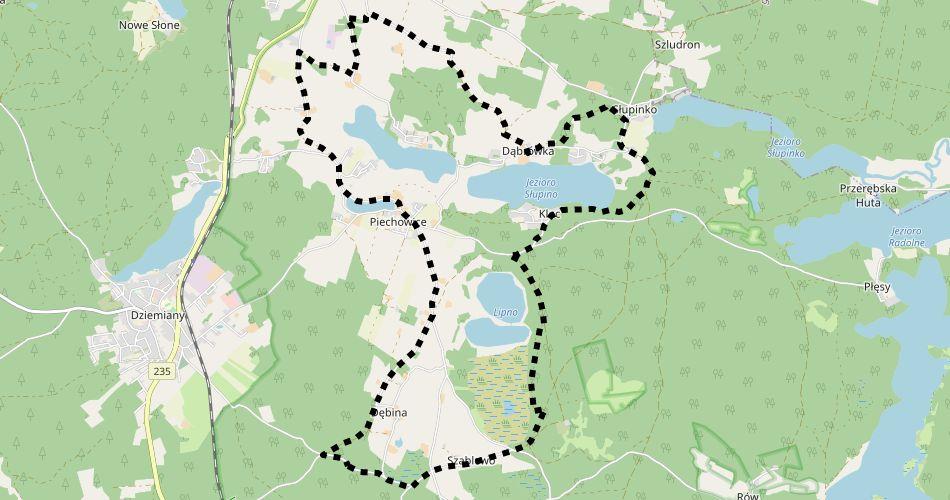 Mapa trasy Pętla Lipno (szlak rowerowy, czarny)