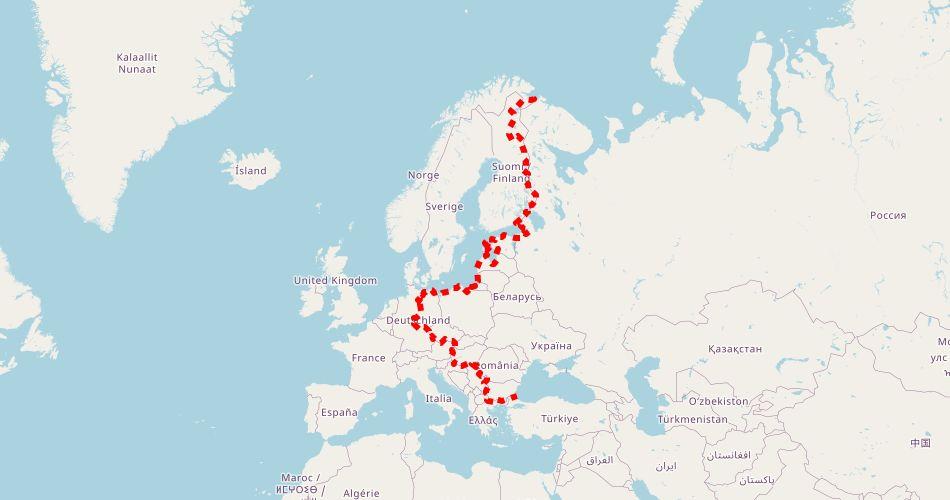 """Mapa trasy EuroVelo R10 i R13  (""""Szlak Żelaznej Kurtyny"""", """"Wokół Bałtyku"""", rowerowy)"""