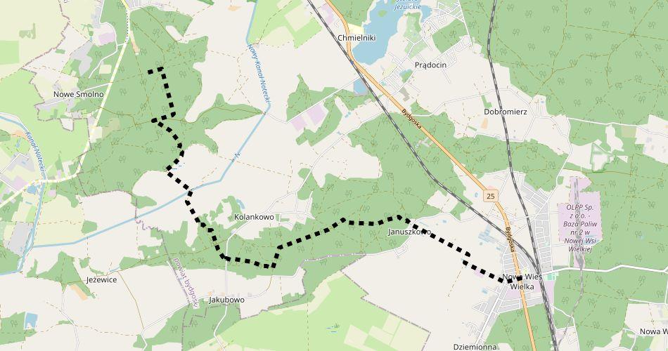 Mapa trasy 18 Południka (szlak pieszy, czarny)