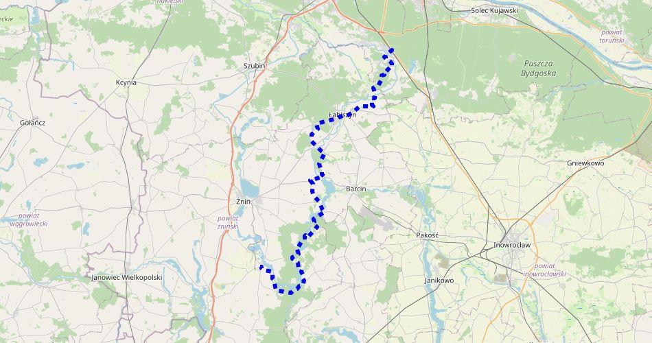 """Mapa trasy Gąsawa – Brzoza (""""Pałucki"""", szlak pieszy, niebieski)"""