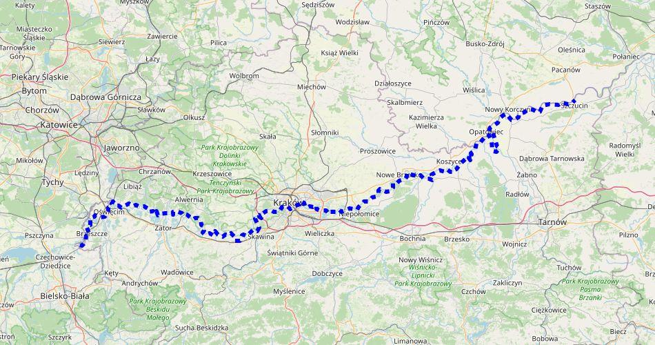 Mapa trasy Wiślana Trasa Rowerowa (Małopolska)