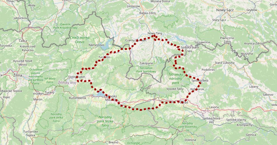 Mapa trasy Szlak Wokół Tatr