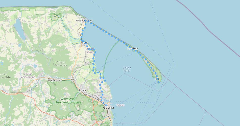 Mapa trasy Pierścień Zatoki Puckiej (trasa rowerowa)